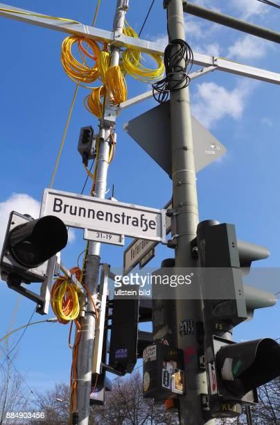 Temporaere AmpelSingnalanlage an der Ecke Brunnenstrasse