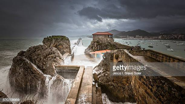 temporal en castro urdiales - castro district stock pictures, royalty-free photos & images