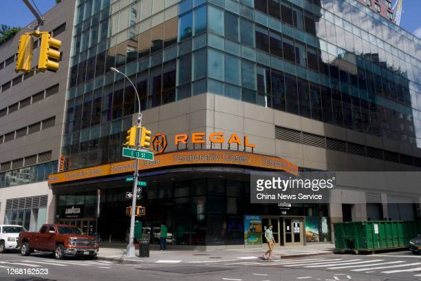 Temporarily closed Regal Cinema is seen amid the coronavirus outbreak on August 23, 2020 in New York, United States.