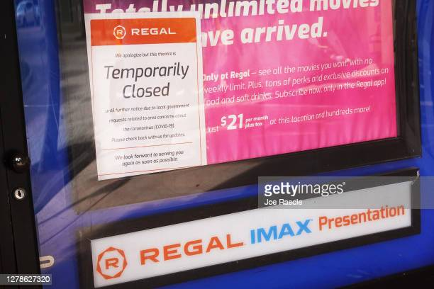 Temporarily closed sign is seen at a Regal Cinemas location on October 05, 2020 in Kendall, Florida. The parent company of Regal Cinemas announced...
