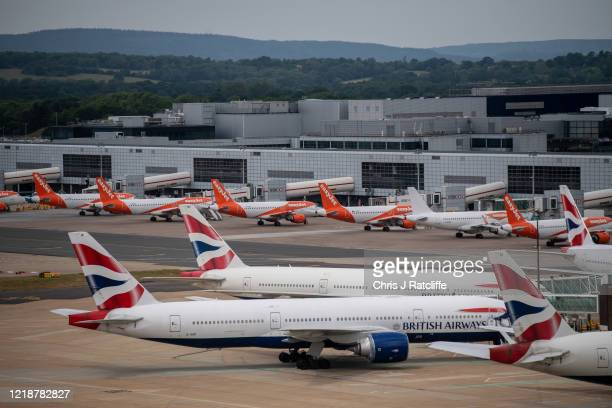 Temporarily out of use British Airlines and EasyJet at Gatwick Airport on June 9, 2020 in London, England. Gatwick Airport has introduced a range of...