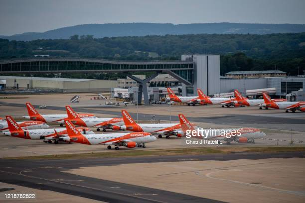 Temporarily out of use EasyJet aircraft at Gatwick Airport on June 9, 2020 in London, England. Gatwick Airport has introduced a range of protective...