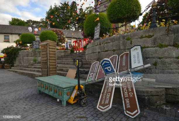 Temporarily removed signpost in the village of Enniskerry in County Wicklow. There are only two more days until filming begins for Disney's...