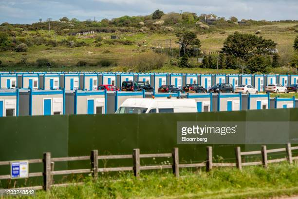 Temporary accommodation units in a field outside St. Ives, near the venue for the upcoming Group of Seven leaders summit in Carbis Bay, U.K., on...