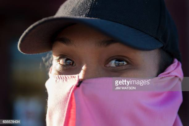 Temporary agricultural worker poses for a picture as she returns to the Port of Entry in San Luis, Arizona, on February 15, 2017. Attention Editors,...