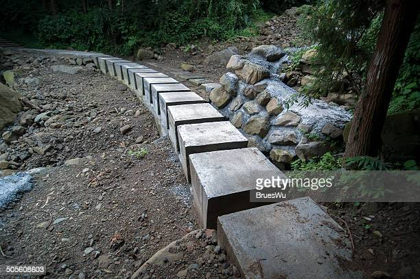 Temporary cement blocks path after disaster