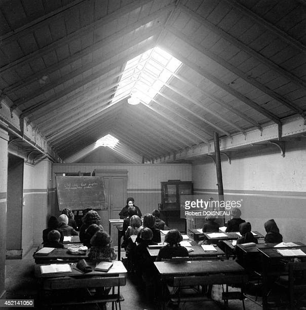 Temporary classroom after the bombings 1944 in Saint Denis France