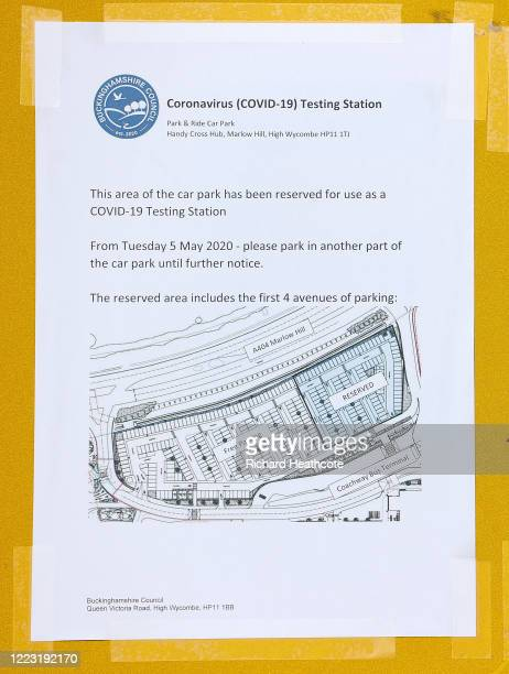 Temporary Covid-19 testing site run by the armed services at High Wycombe Park & Ride on May 06, 2020 in High Wycombe, United Kingdom. The country...