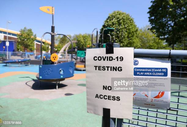 A temporary Covid19 testing site run by the armed services at the Aquavale leisure centre on May 09 2020 in Aylesbury England The UK is continuing...