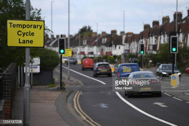 A temporary cycle lane has been created on the A270 on May 11 2020 in Brighton England The prime minister announced the general contours of a phased...