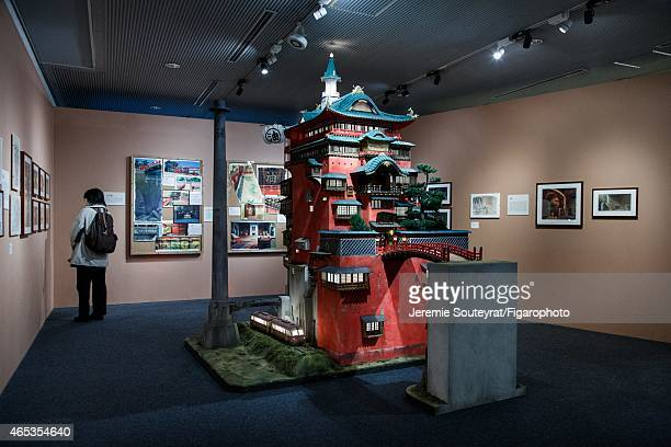 Temporary exhibit about Studio Ghibil's architecture is photographed for Le Figaro on December 4 2014 at the EdoTokyo OpenAir Architectural Museum in...