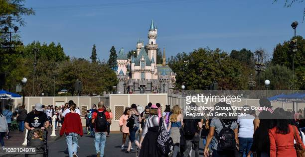 Temporary fencing surrounds The Hub in front of Sleeping Beauty Castle on Main Street USA at Disneyland in Anaheim on Thursday Jan 18 2018 The park...