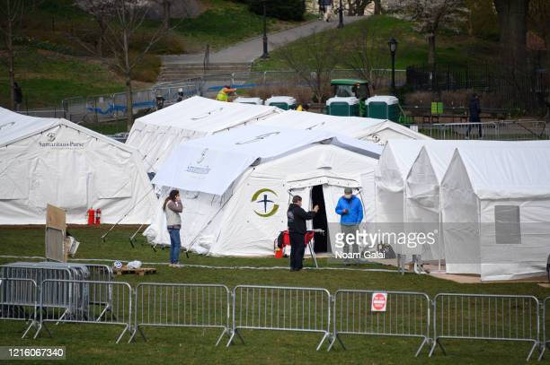Temporary hospital is built in Central Park on the East Meadow lawn during the Coronavirus pandemic on March 31, 2020 in New York City. The facility...