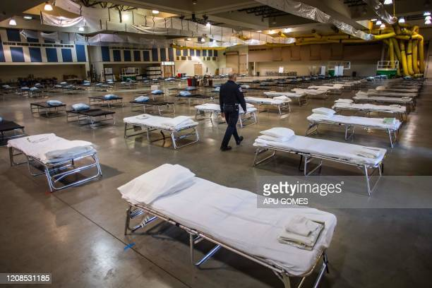 Temporary hospital which is been settled up by members of the California National Guard is seen in Indio, California on March 29, 2020. - The new...