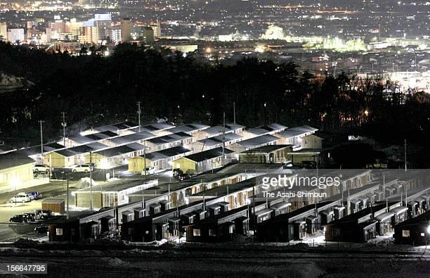 Temporary housing for the evacuated people from Okuma city are seen on January 10 2012 in Aizuwakamatsu Fukushima Japan