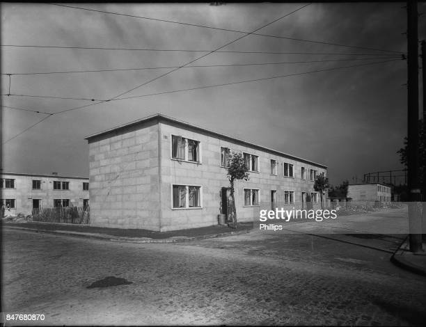 Temporary housing on a former bombsite in Poplar east London 2nd January 1947