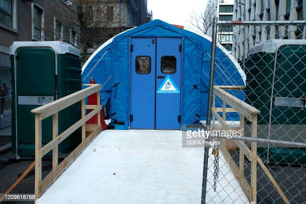 Temporary morgue has been set up in front of Mt. Sinai Morningside Hospital to accommodate the high number of deaths due to the COVID-19 coronavirus....