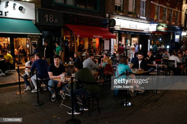 Temporary outdoor seating areas in Soho on September 19, 2020 in London, England. The British government reported 4,422 confirmed UK cases on...