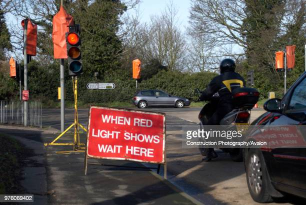 Temporary red light during roadworks England UK