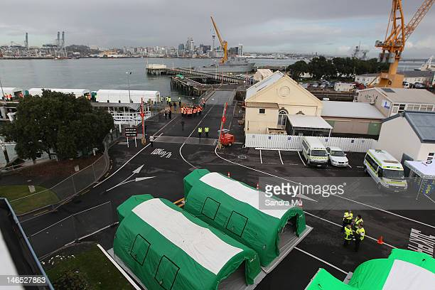Temporary St John tents are seen during a simulated mass arrival of asylum seekers at Devonport's Naval Base on June 19 2012 in Auckland New Zealand...