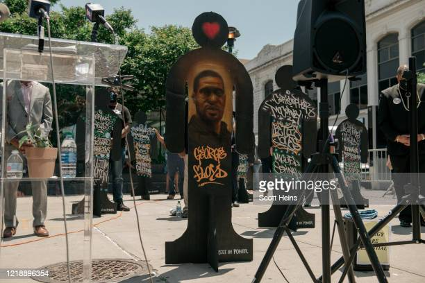 Temporary statue bearing the name of George Floyd is erected during a ceremony on June 9, 2020 in the Bedford Stuyvesant neighborhood of the Brooklyn...