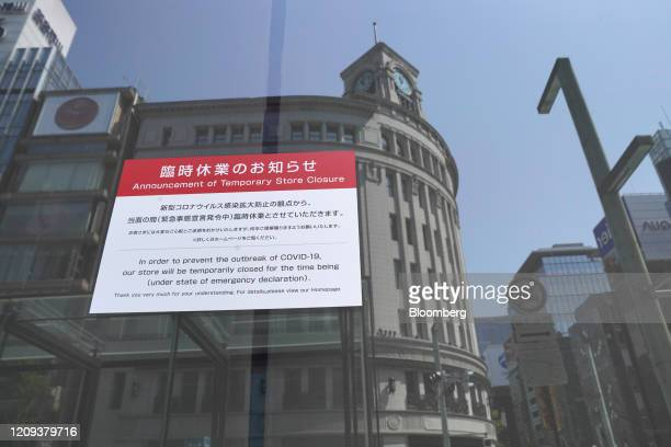 Temporary store closure sign is displayed at a Mitsukoshi department store, operated by Isetan Mitsukoshi Holdings Ltd., in Ginza shopping district...