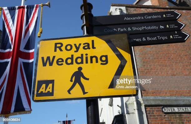 Temporary street signs are displayed ahead of the dress rehearsal for the wedding of Prince Harry and Meghan Markle on May 17 2018 in Windsor England