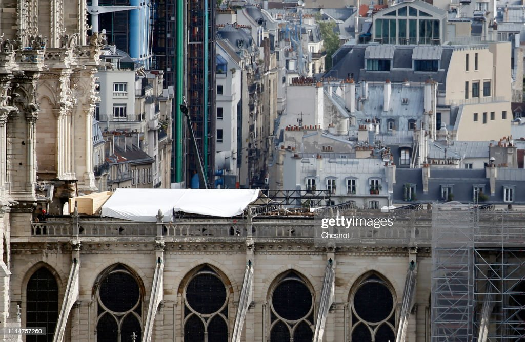 FRA: Cover Installed Over Notre Dame To Protect From Rain