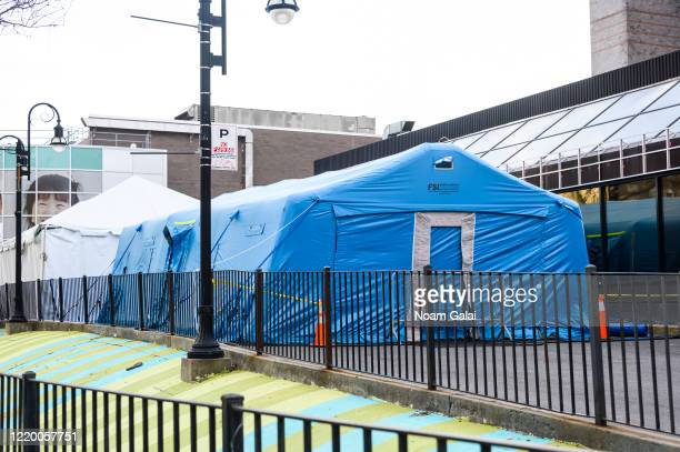 A temporary tent sits outside Elmhurst Hospital Center during the coronavirus pandemic on April 20 2020 in New York City COVID19 has spread to most...