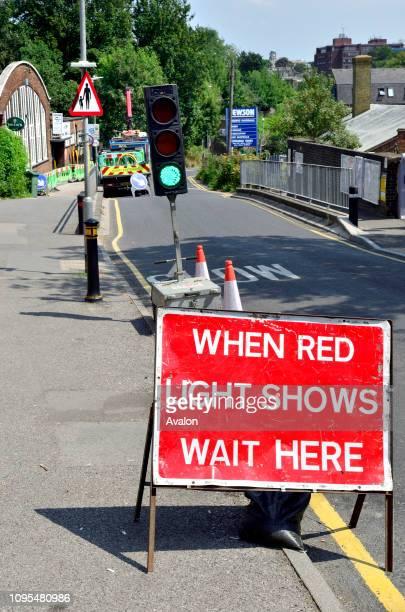Temporary traffic lights Maidstone England