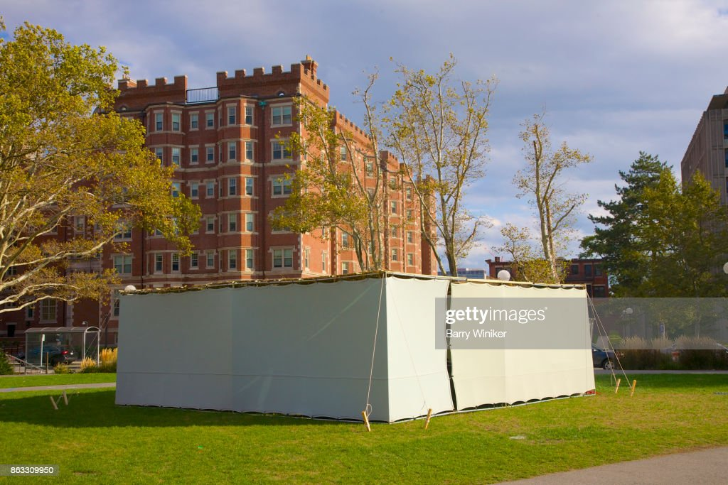 Temporaty tent set up at MIT for Jewish holiday of Sukkot & Feast Of Booths Stock Photos and Pictures | Getty Images