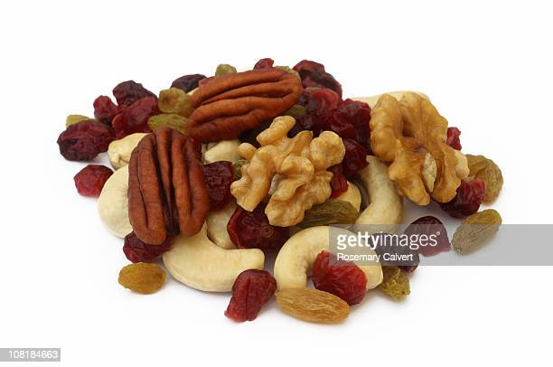 Tempting nuts and dried fruit in a pile.