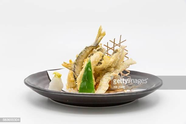 tempura baby ayu (sweet fish) - washoku fotografías e imágenes de stock