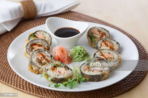 tempura salmon - wasabi stock pictures, royalty-free photos & images