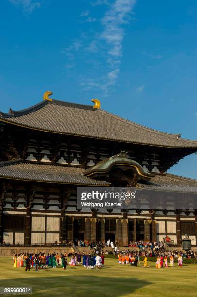 Tempyo Gyoretsu Procession in front of the Great Buddha Hall of the Todaiji temple which is a Buddhist temple complex and UNESCO World Heritage Site...