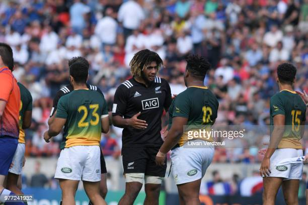 Tems honor each other after the final whistle of the World Rugby Under 20 Championship 3rd Place Play 0ff between South Africa and New Zealand on...