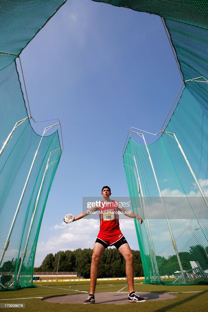 Temuri Abulashvili of Georgia competes in the Boys 1.5kg Discus during the European Youth Olympic Festival held at the Athletics Track Maarschalkersweerd on July 15, 2013 in Utrecht, Netherlands.