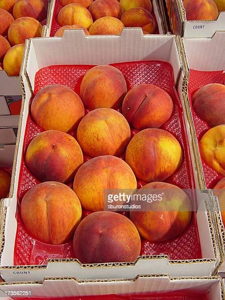 Zehn 10 Organic Pfirsiche in einer Box