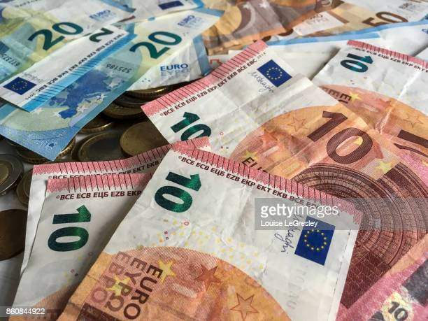 ten and twenty euro banknotes - twenty euro banknote stock photos and pictures