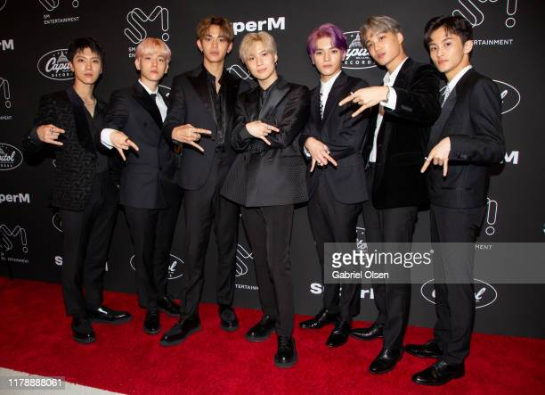 Ten Baekhyun Lucas Taemin Taeyeong Kai and Mark of Kpop supergroup SuperM pose during a press conference at Capitol Records Hosts Release Of SuperM's...