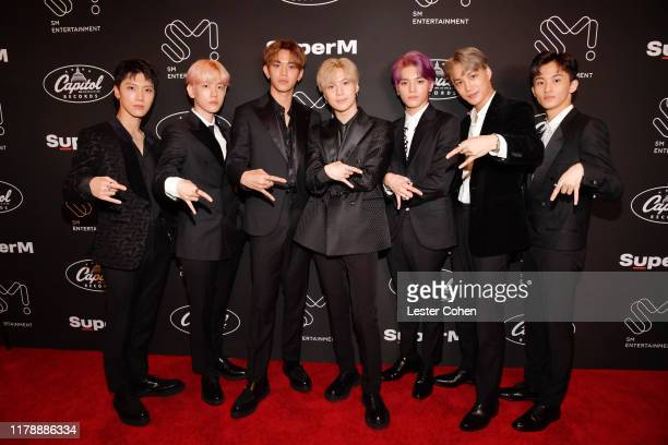 Ten Baekhyun Lucas Taemin Taeyong Kai and Mark Lee of SuperM attend Premiere Event Live From Capitol Records in Hollywood at Capitol Records Tower on...