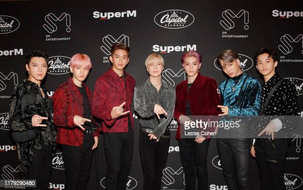 Ten Baekhyun Lucas Taemin Taeyong Kai and Mark of SuperM attend SuperM Live From Capitol Records in Hollywood at Capitol Records Tower on October 05...
