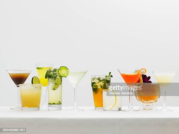 ten cocktails side by side - mai tai fotografías e imágenes de stock