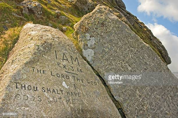 ten commandment stones on dartmoor national park - ten commandments stock photos and pictures
