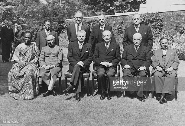 Ten Commonwealth Prime Ministers attending the British Commonwealth Prime Ministers' Conference pose together here June 26th Left to right seated in...