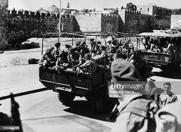 Ten days before the end of the British mandate on Palestine the British regiment of Suffolk was evacuating Jerusalem by the Damascus Gate to the...