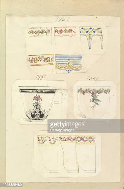 Ten Designs for Decorated Cups including Osborne Pattern 184555 Artist Alfred Crowquill