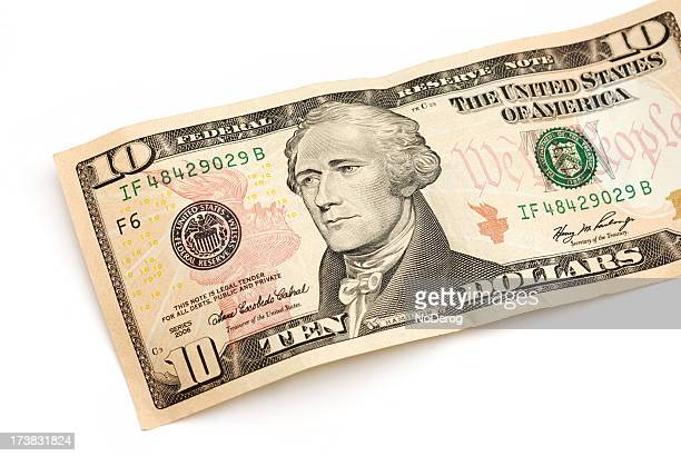 Ten dollar bill partial view with Andrew Jackson portrait