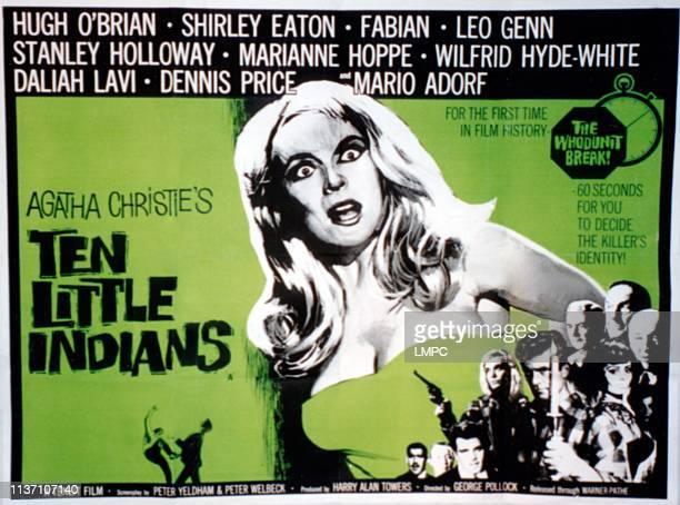 Ten Little Indians poster Shirley Eaton Mario Adorf Dennis Price Fabian Hugh O'Brian Leo Genn Daliah Lavi Stanley Holloway Wilfrid HydeWhite 1965
