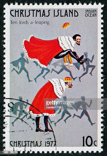 ten lords a leaping stamp - 12 days of christmas stock pictures, royalty-free photos & images